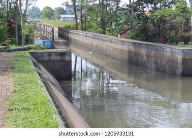 Dam River In Malang City, East Java, Indonesia