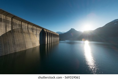 Dam of Roselend lake in french Alps