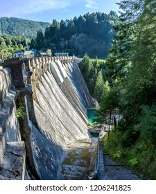 The dam of Santa Caterina near the village of Cadore, in the Dolomites, Italy. Hydroelectric plant.