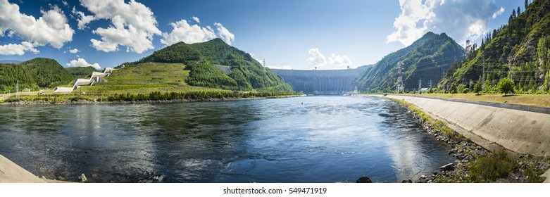The dam of the Sayano-Shushenskaya hydro power plant.