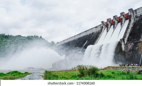 Dam and spillways (Khun Dan Prakan Chon Dam), NAKHONNAYOK, THAILAND