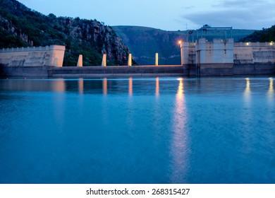 Dam wall in evening light. Shot on Paris Dam, South Africa.