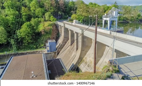 Dam wall and lake in Brno from above, Czech Republic