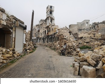 The damage of Aleppo in the Syrian Civil War