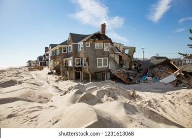 Damage to beach homes on the New Jersey shore in the aftermath of hurrican Sandy