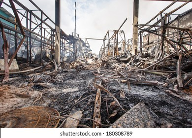 Damage caused by fire in Thailand.
