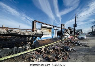 Damage caused by hurricane Sandy in the Rockaways, Queens, New York.