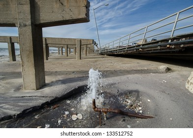 Damage caused by hurricane Sandy to the Rockaway boardwalk, Queens, New York.