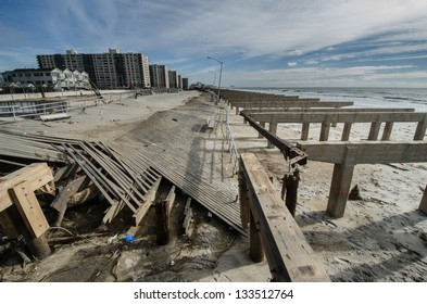Damage caused by hurricane Sandy to the Rockaway boardwalk, Queens, New York.