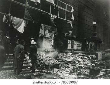 Damage to Chicago's Federal Building from a bomb explosion on Sept. 4, 1918. Two mail clerks and two patrons were killed and 75 were injured. The International Workers of the World were the top suspe