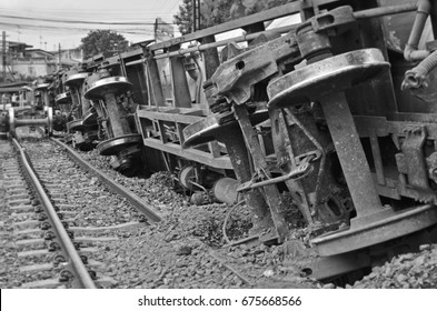 Damage of compartment after train derailed