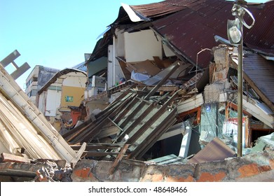 Damage done to houses by the 2010 earthquake with 8.8 magnitude in Concepcion city, Chile.