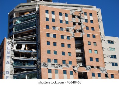 Damage done to a new office building by the 2010 earthquake with 8.8 magnitude in Concepcion city, Chile.