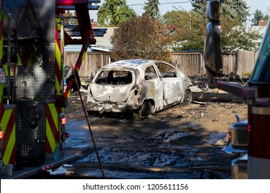 Damage from a major fire in Springfield Oregon after a gunman set three homes ablaze and attempted to shoot at first responders.