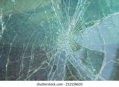 Damage on car, broken glass