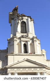 Damage on old church during an earthquake in Chile