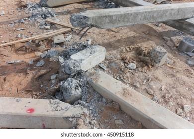 Damage pillar on ground at construction site