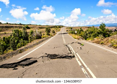 The Damaged asphalt road Crater Rim Drive in the Hawaii Volcanoes National Park after earthquake and eruption of Kilauea