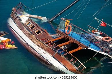 Damaged boat of refugees, Kos Island,Greece,October 2015