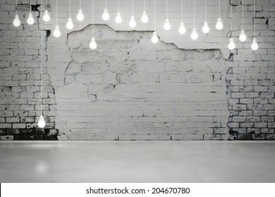 damaged brick wall with bulbs