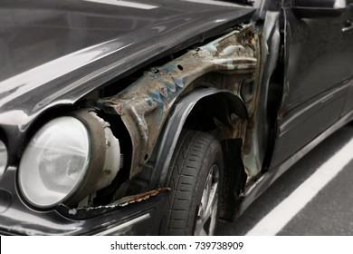 Damaged car outdoors, closeup