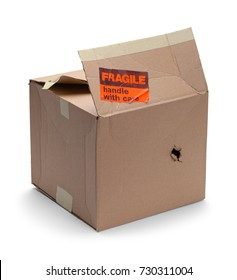 Damaged Cardboard Box with Fragile Sticker Isolated on a White Background.
