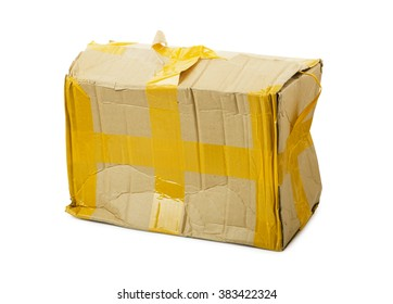 Damaged cardboard box isolated background