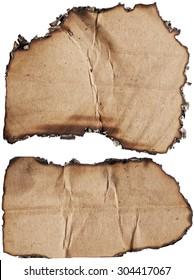 Damaged cardboards isolated on white background