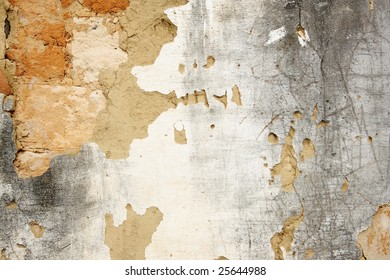 Damaged cracked old wall