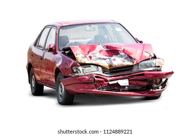 Damaged crash car from accident isolated on white background with clipping path