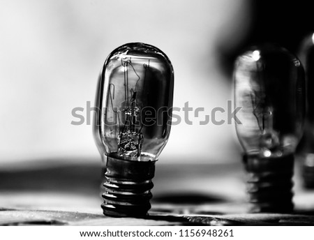 Damaged fused light bulbs isolated object unique blurry photo