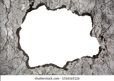Damaged grungy crack and broken concrete wall on white, concept of escape