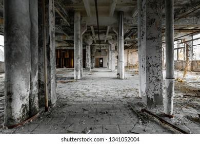 Damaged Hallin Jupiter Factory, Chernobyl Exclusion Zone 2019, angle shot