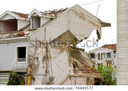 Damaged house after strong earthquake natural disaster
