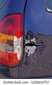 Damaged metak car side after traffic accident