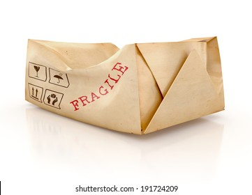 Damaged package with a Fragile Handle With Care Sign, isolated on white background. 3d illustration