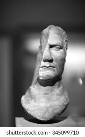Damaged portrait of Julius Caesar in marble