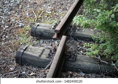 Damaged railway track. Railroad Track, Railway track, Iron - Metal,  Steel.