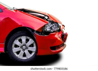 damaged red car