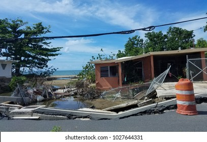 damaged residential home in Puerto Rico after Hurricane Maria