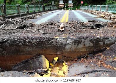 Damaged Road And Bridge