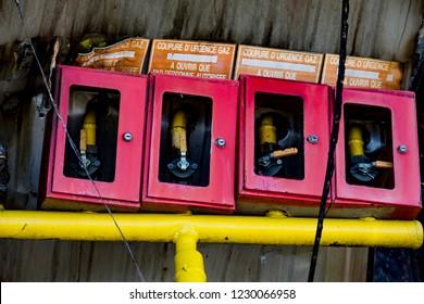 Damaged supermarket sprinkler fire protection system equipment after arson fire with burn black dark debris after intense burning fire disaster ruins waiting for investigation for insurance. dramatic