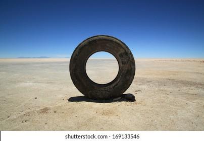 Damaged tire in Uyuni Salt Flats, Bolivia, South America