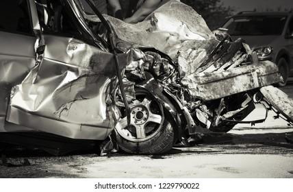Damaged vehicle closeup after car crash.