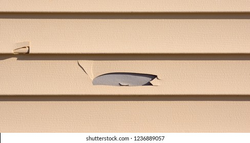 Damaged vinyl siding with a hole broken in a row with cracks.