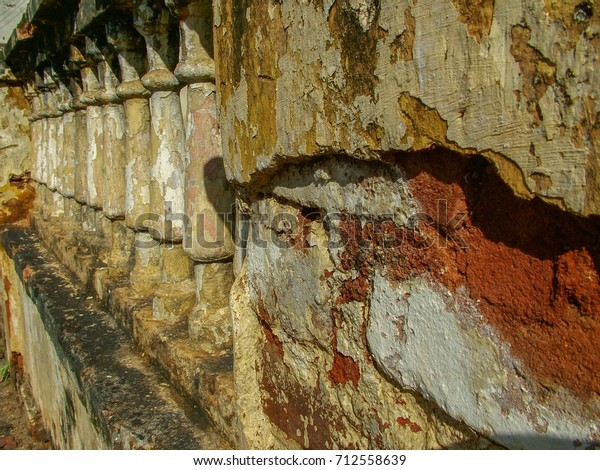 Damaged wall with columns. Great for textures and background works.
