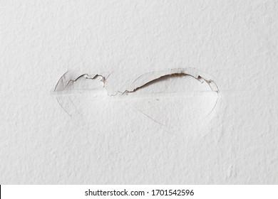 Damaged white dented drywall wall