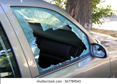 damaged window of a car