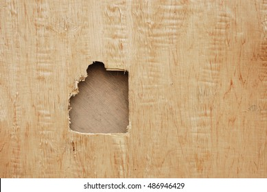 damaged wood plank wall with a hole
