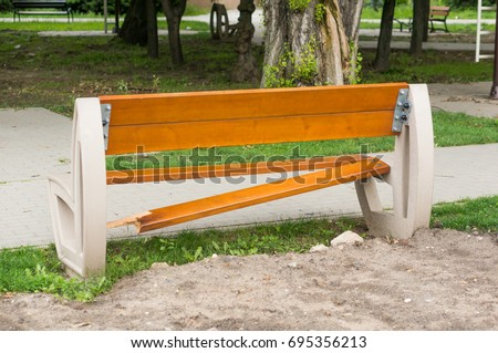 Damaged Wooden Park Bench Back By Stock Photo Edit Now 695356213